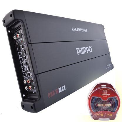 Pilippo PO-1080 5 Kanal 680 Watt Oto Amplifikatör + Kablo seti resmi